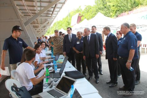 "Artsakh Republic President Bako Sahakyan took part in the ceremony of providing modern hearing aids by the world-famous American ""Starkey"" company to Artsakh citizens with hearing problems held in Stepanakert Central Stadium"