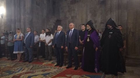 President Bako Sahakyan partook in the Gandzasar Monastic Complex at the event devoted to the Transfiguration of Jesus Christ (Vardavar) holiday