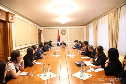"Artsakh Republic President received the participants of the ""Patriotic Student"" forum"