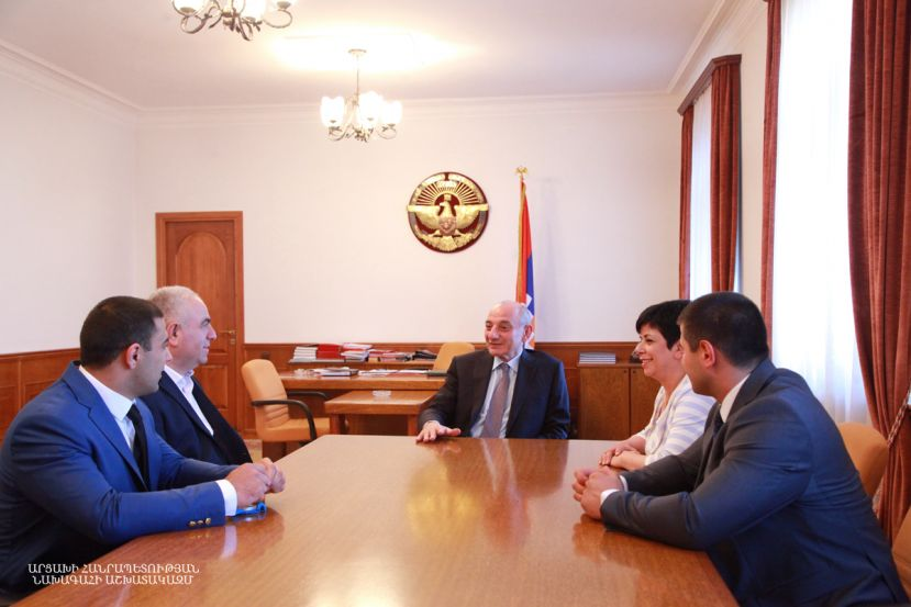 President Bako Sahakyan received silver medalist of the Sambo Tournament held within the 2019 European Games in Minsk David Grigoryan and his coach Ernest Mirzoyan