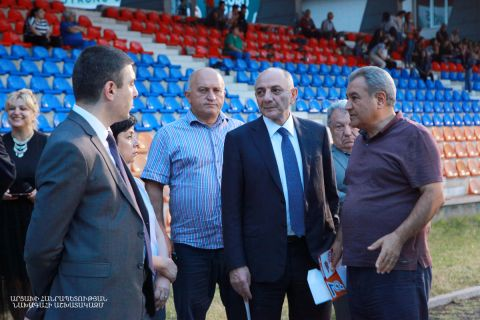 Artsakh Republic President Bako Sahakyan visited the central stadium of Stepanakert