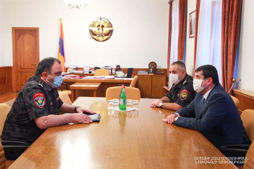 Artsakh Republic President Arayik Harutyunyan received Head of the Police of the Republic of Armenia Vahe Ghazaryan
