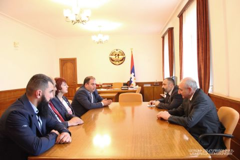 "Artsakh Republic President Bako Sahakyan received the delegation of the ""Heritage"" (""Zharangutyun"") Party headed by chairman of the board Andranik Grigoryan"