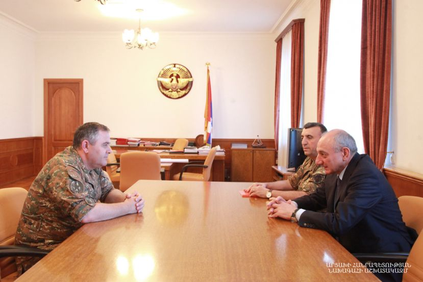 Artsakh Republic President Bako Sahakyan received head of the General Staff of the Republic of Armenia Armed Forces Artak Davtyan