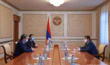 Artsakh Republic President Arayik Harutyunyan received President of the Football Federation of Armenia Armen Melikbekyan