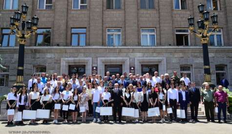 The solemn ceremony of awarding pupils from Artsakh having received diplomas in the final stage of the subject Olympiads took place at the Artsakh Republic President's residence